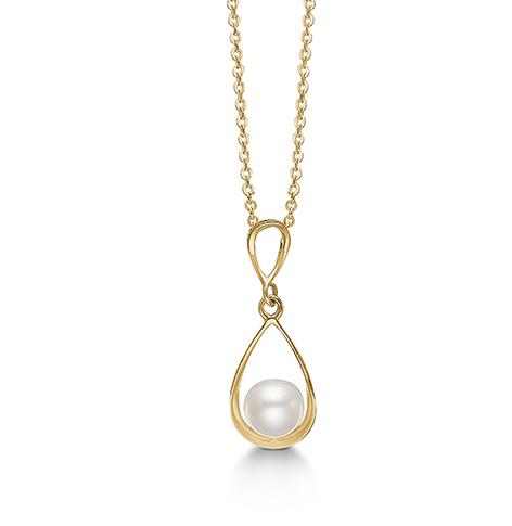 8 kt vedhæng med perle og forgyldt sølv kæde - 04332280-45 fra aagaard fra brodersen + kobborg