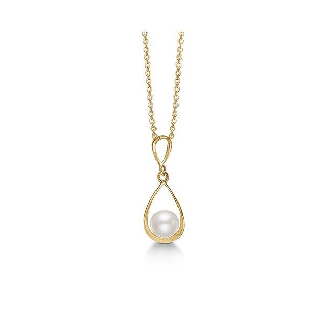 8 kt vedhæng med perle og forgyldt sølv kæde - 04332280-45