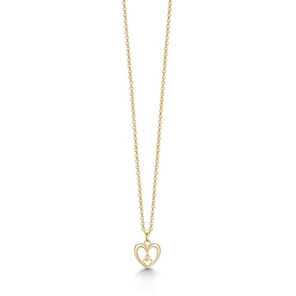 aagaard – 8 kt. guld hjerte vedhæng med diamant - 04332898-45 fra brodersen + kobborg