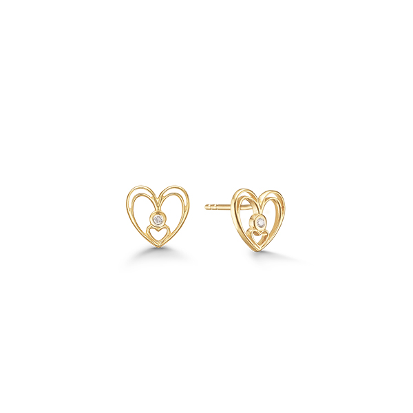 8 kt. guld hjerte ørestik med diamant - 08942898-34