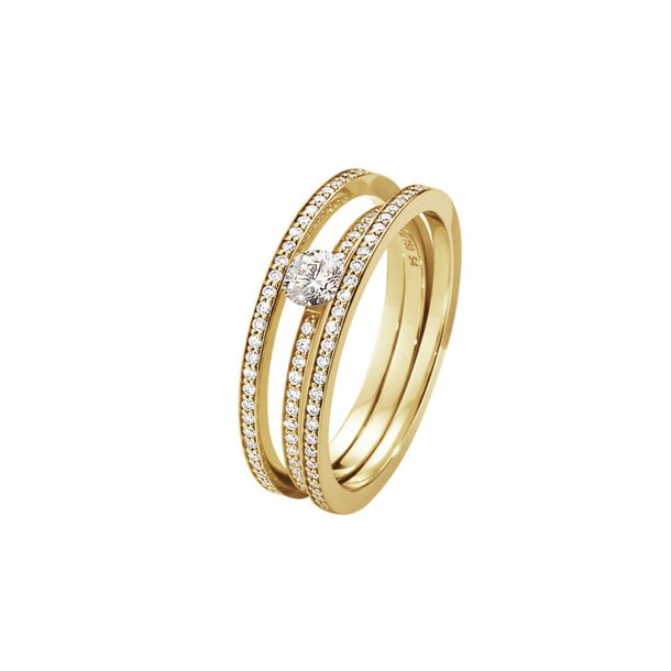 Georg Jensen Halo Solitaire ring fuld pavé - 10014114