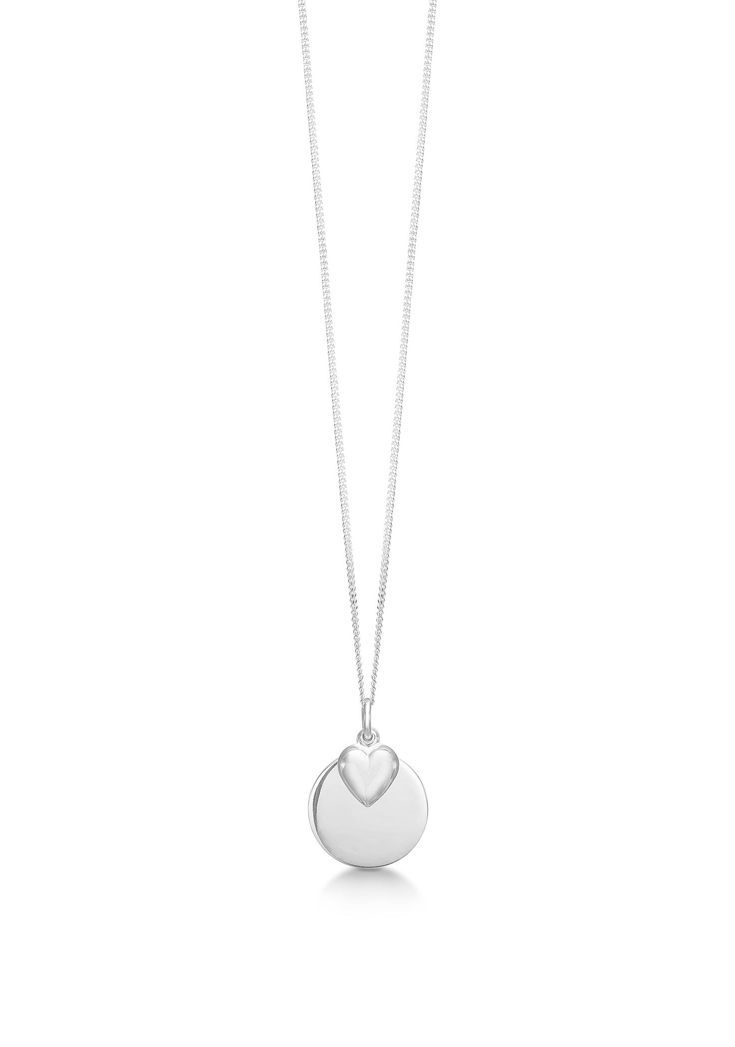 aagaard Aagaard sølv collier med blank plade & hjerte - 11302946-40 på brodersen + kobborg
