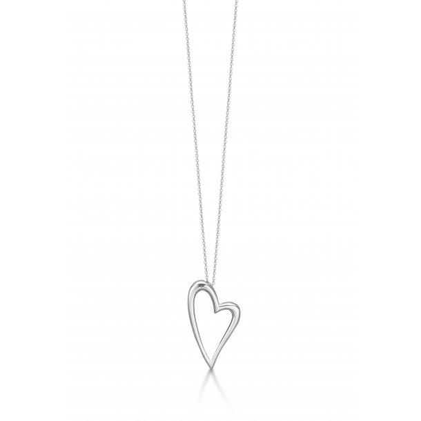 Sølv kæde med hjerte - 45 cm - 11303241-45