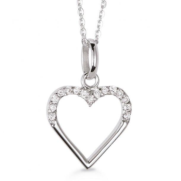 AAGAARD sølv hjerte med synt. zirkonia incl. kæde - 11323738-45