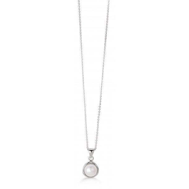 Sølv collier med ferskvandsperle - 11333741-45