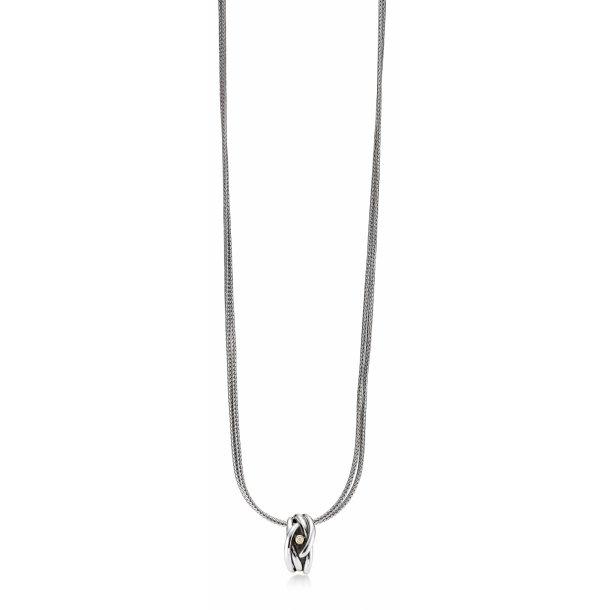 Aagaard Sølv halssmykke med diamant og 14 kt guld - 11333863-45