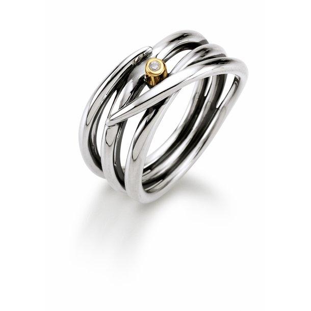 Aagaard Sølv ring med diamant og 14 kt guld - 11643863-34