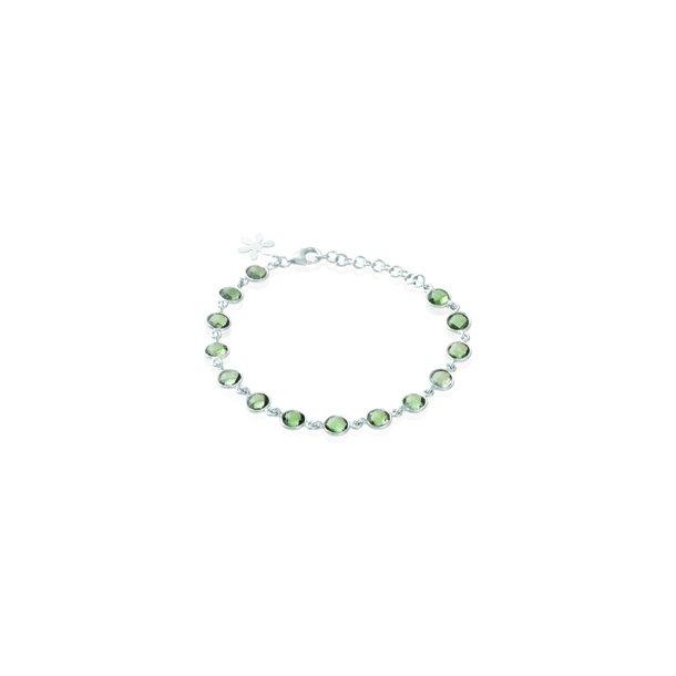 Sølv armbånd med sten - 1413-1-GRøNKVARTS