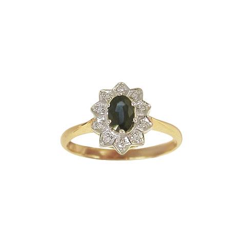 Aagaard 14 kt ring med diamanter og safir - 1463065-95R Størrelse 56