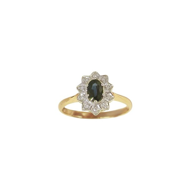 Aagaard 14 kt ring med diamanter og safir - 1463065-95R