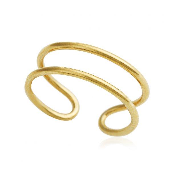 Forgyldt sølv ring - 1672-2