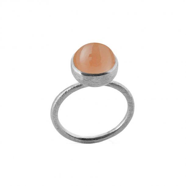 Sølv ring med sten - 1678-1-LYSERøD