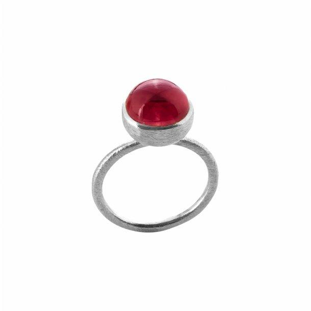 Sølv ring med sten - 1678-1-LYSERøDKRYSTAL