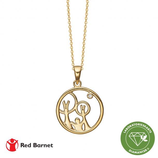 AAG Red Barnet, halskæde forg sølv m/1 x 0,01 ct LG diamant TW/SI2, 1680-KV-RB-G