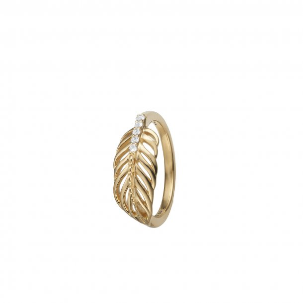 CHRISTINA Feather forgyldt ring - 2.15B