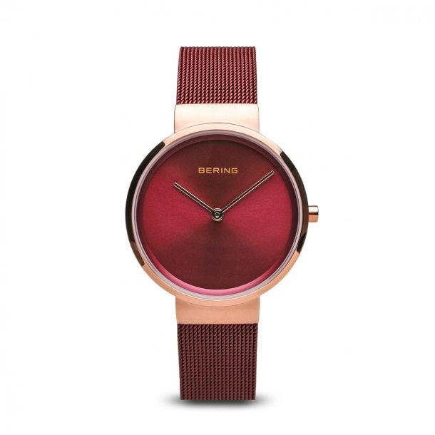 BERING Classic dameur i farven rosaguld/rød 14531-363