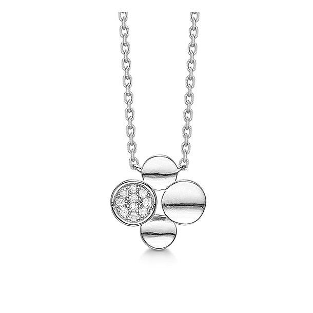 Rhodineret sølv collier med synt. zirkonia 45 cm - 21323286-45