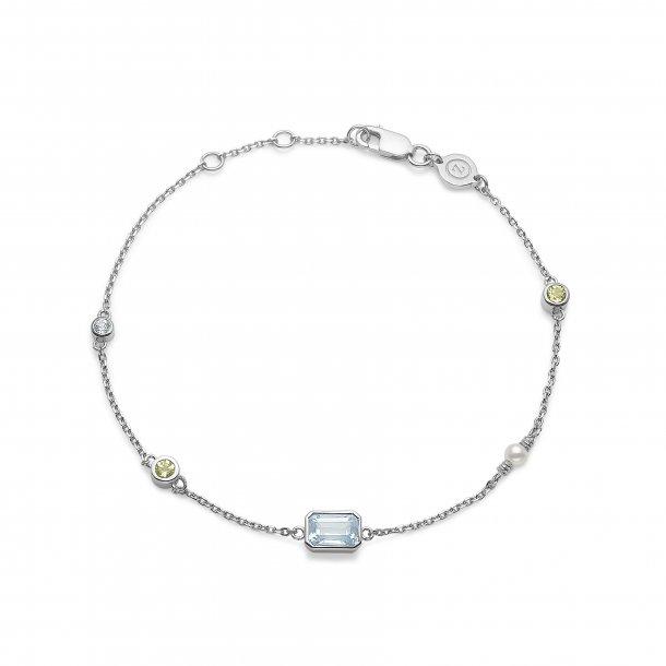 Sølv armbånd Aurora med blå topas - 2156504