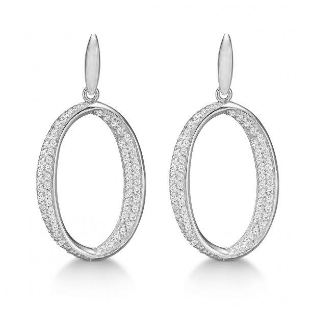 Rhodineret sølv ørestikker med zirkonia - 21972288-75