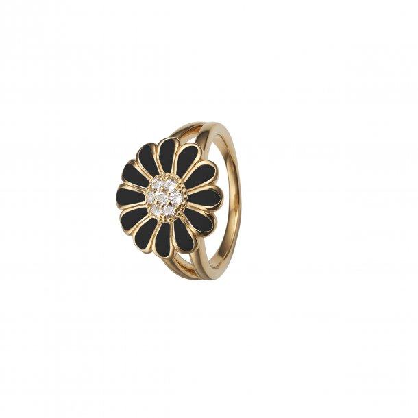 Christina Forgyldt sølv ring med sort marguerite - 4.5B