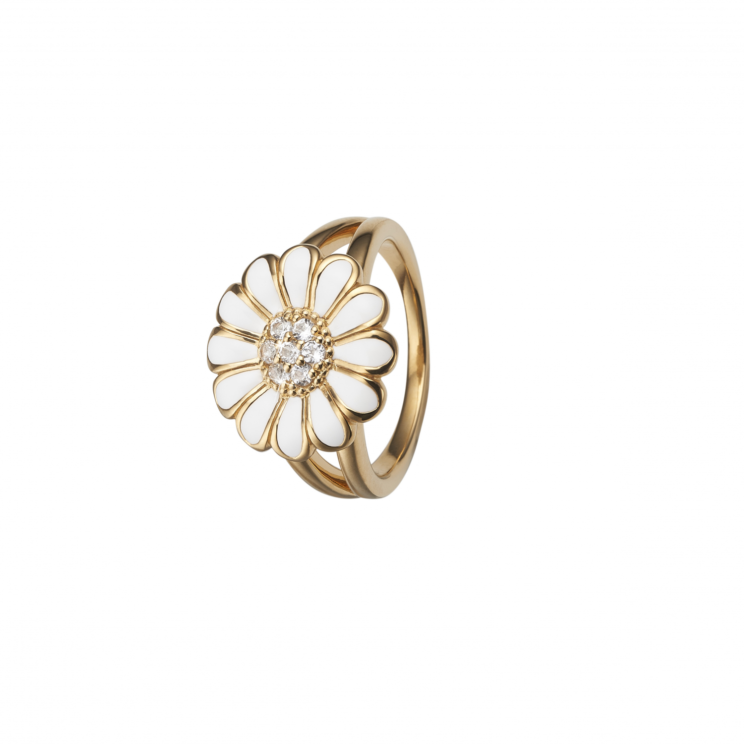 CHRISTINA White Marguerite ring 16 mm - 4.6B Størrelse 47
