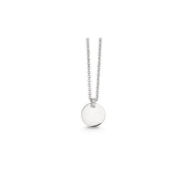 Sølv halssmykke coin med synt. zirkonia - 4203042-45