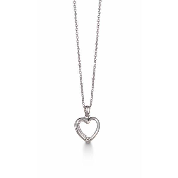 Aagaard 14 kt vedhæng med diamanter og sølv kæde - 44333715-45