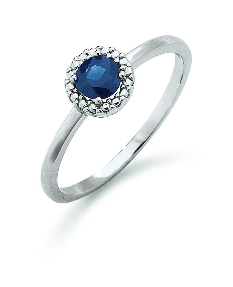 Aagaard 14 kt hvidguld ring med safir - 44633475-28 Størrelse 54