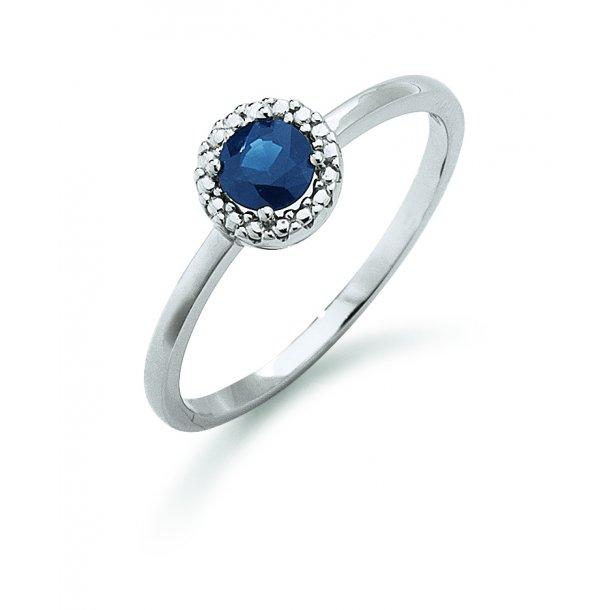 Aagaard 14 kt hvidguld ring med safir - 44633475-28
