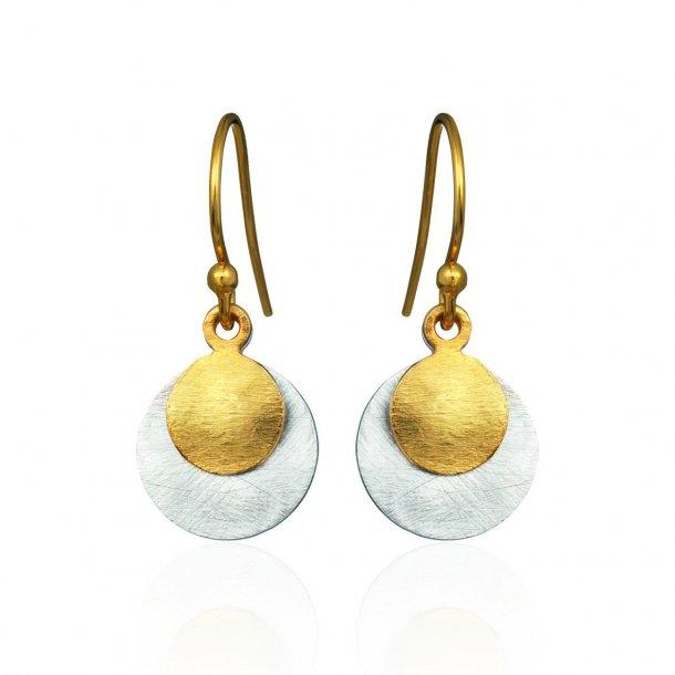 Forgyldt sølv ørehænger med dobbelt mønt - 5180-2