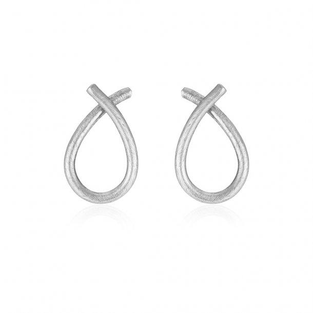 Sølv ørestikker tvistet dråbe - 5359-1