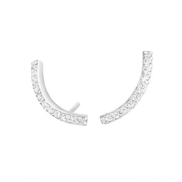 Sølv ørestikker med zirkonia i bue - 5380-1