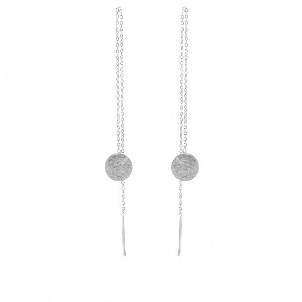 Sølv ørestikker tråd med plade - 5518-1