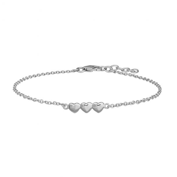 Rhodineret sølv børnearmbånd med hjerter 15+2 cm - 808002