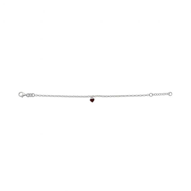Sølv armbånd med rødt emalje hjerte - 8250039