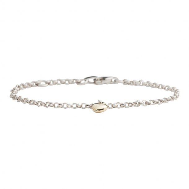 Sølv armbånd med 8 kt hjerte - 882 501 9