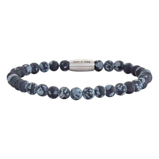 SON Herre armbånd matt snowflake obsidian - 898 003-21