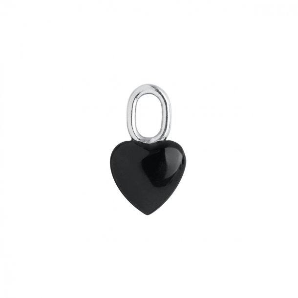 Maria Black Onyx heart sølv - 100802AG