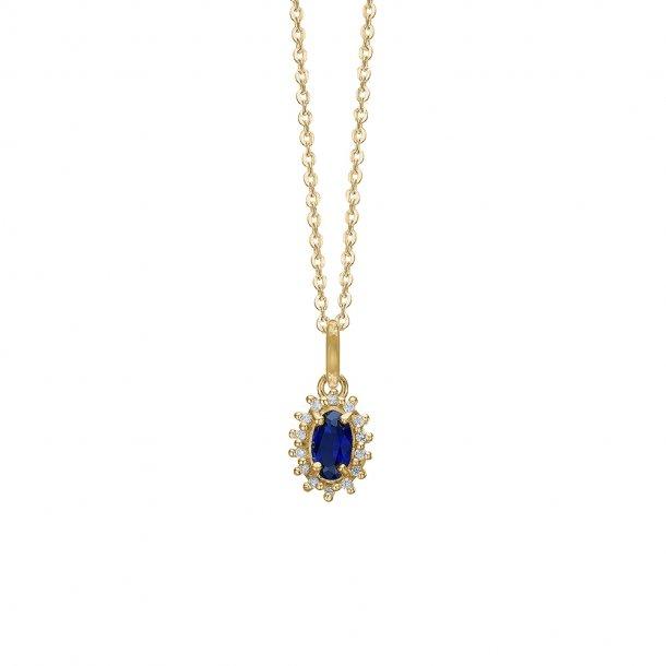 8 kt Aagaard kæde med vedhæng med safir og diamanter - 1680-G8-24-45