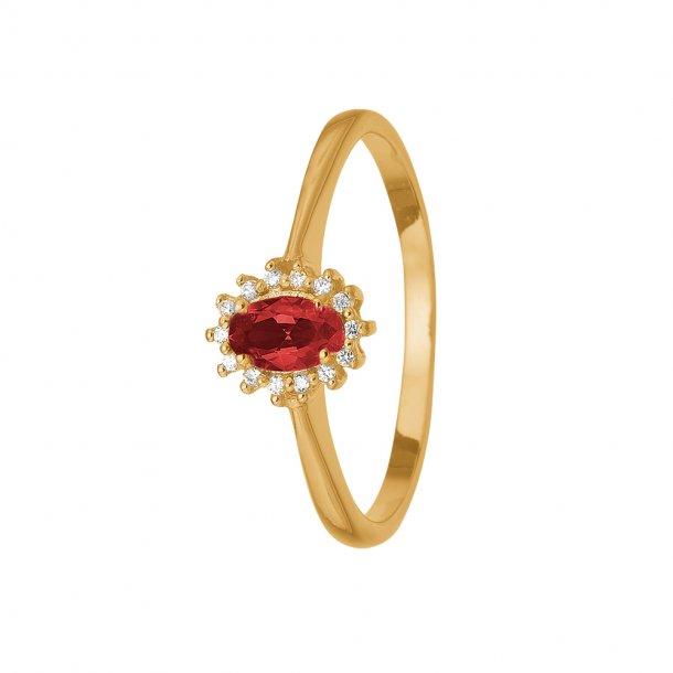 8 kt Aagaard ring med rubin og diamanter - 1800-G8-14