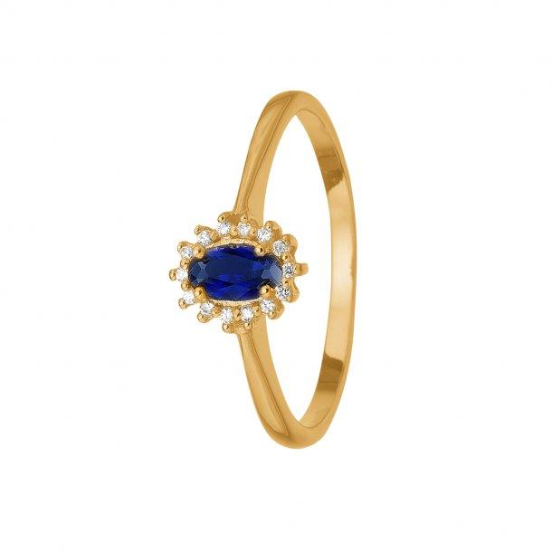 8 kt Aagaard ring med safir og diamanter - 1800-G8-15