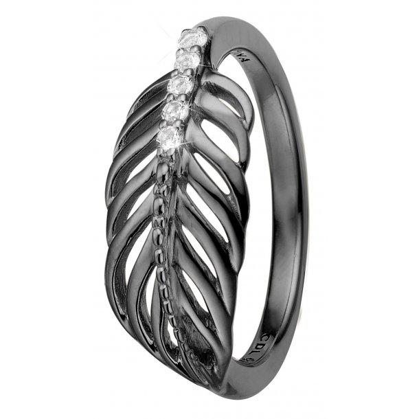 CHRISTINA Feather ring sort rhodineret - 2.15D