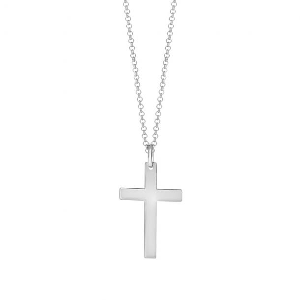 SON rhodineret sølv kæde med kors 29 mm, 60 cm - 267-004