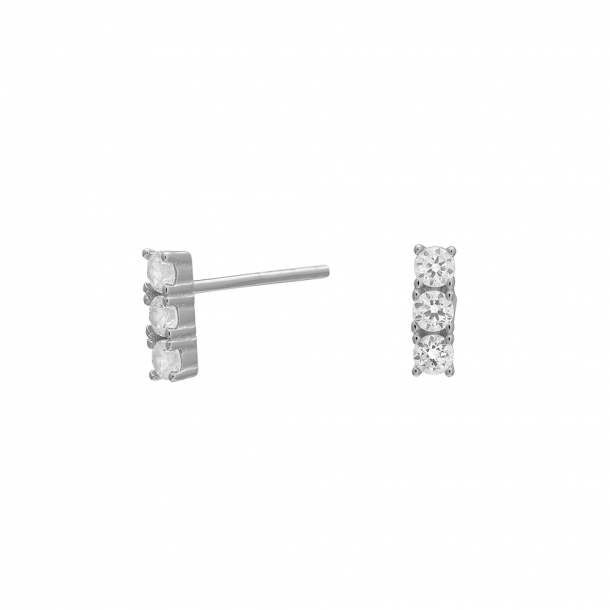 Rhodineret sølv ørestikker EVENOR 7,5 mm - 345-228