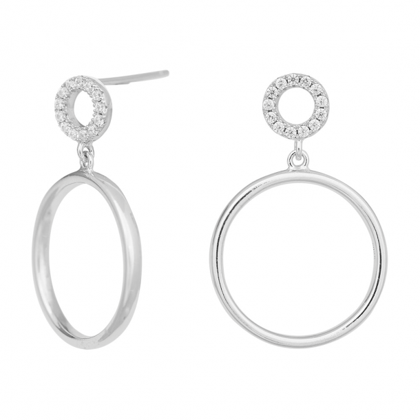 Rhodineret sølv ørehænger DONNANOR 24 mm - 346-004