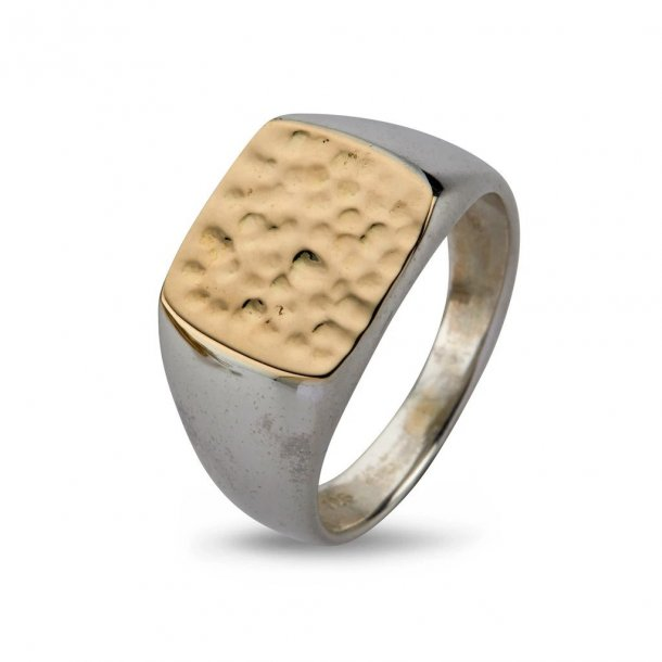By Birdie Cushion Hammered Gold Top ring - 50110190H