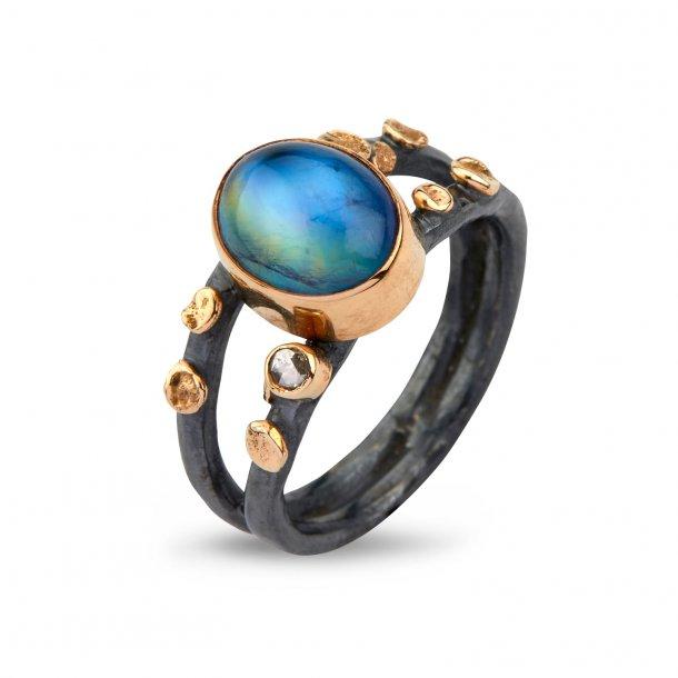 By Birdie Cara Rainbow Moon ring - 50110274B