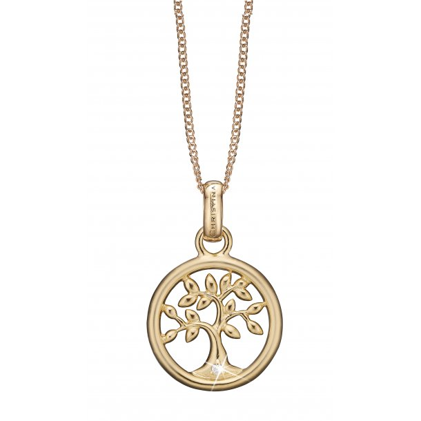 Diamond Tree of Life vedhæng forgyldt - 680-G46