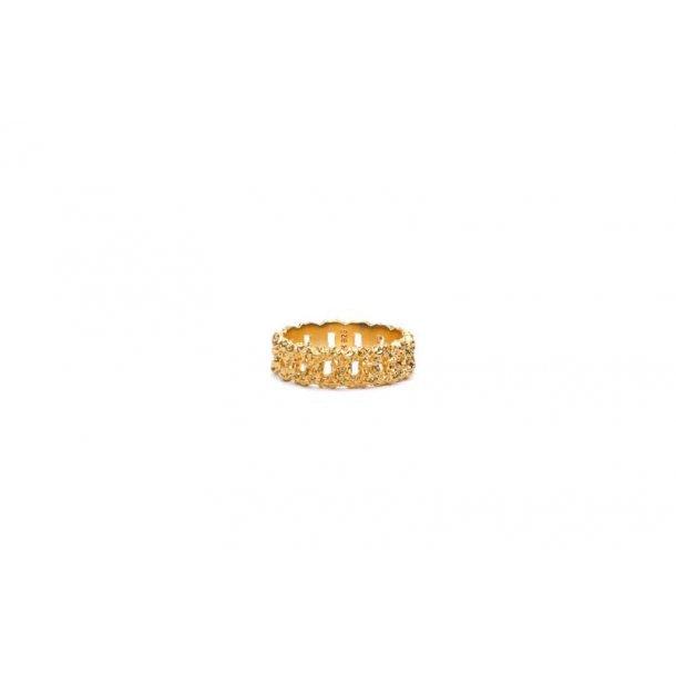 Frederik IX Crunchy Curb ring forgyldt - DMN0309GDHA