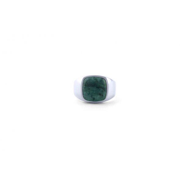 Frederik IX Cushion Signet ring grøn - DMN0282RHGRMA